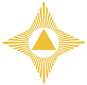 Symbol Wszechświata. Trójkąt przedstawia zasadę trójjedności. Trzy ra-miona trójkąta to X-1 czyli Ojciec, X-2 czyli Duch Święty i X-3 czyli Syn. Te trzy aspekty tworzą razem Jaźń, będącą podstawą bytu każdej żywej istoty. Słońce, w którym znajduje się trójkąt, symbolizuje najwyższą, absolutną wiedzę. Promienie przybierające kształt krzyża, symbolizują najdoskonalszą manifestację miłości. © Martinus Institut
