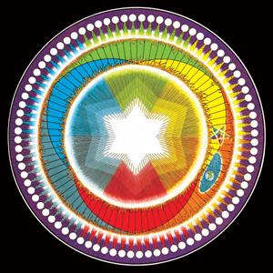 Wszechświat i symbolicznie przedstawione sześć energii oraz planeta Ziemia. © Martinus Institut